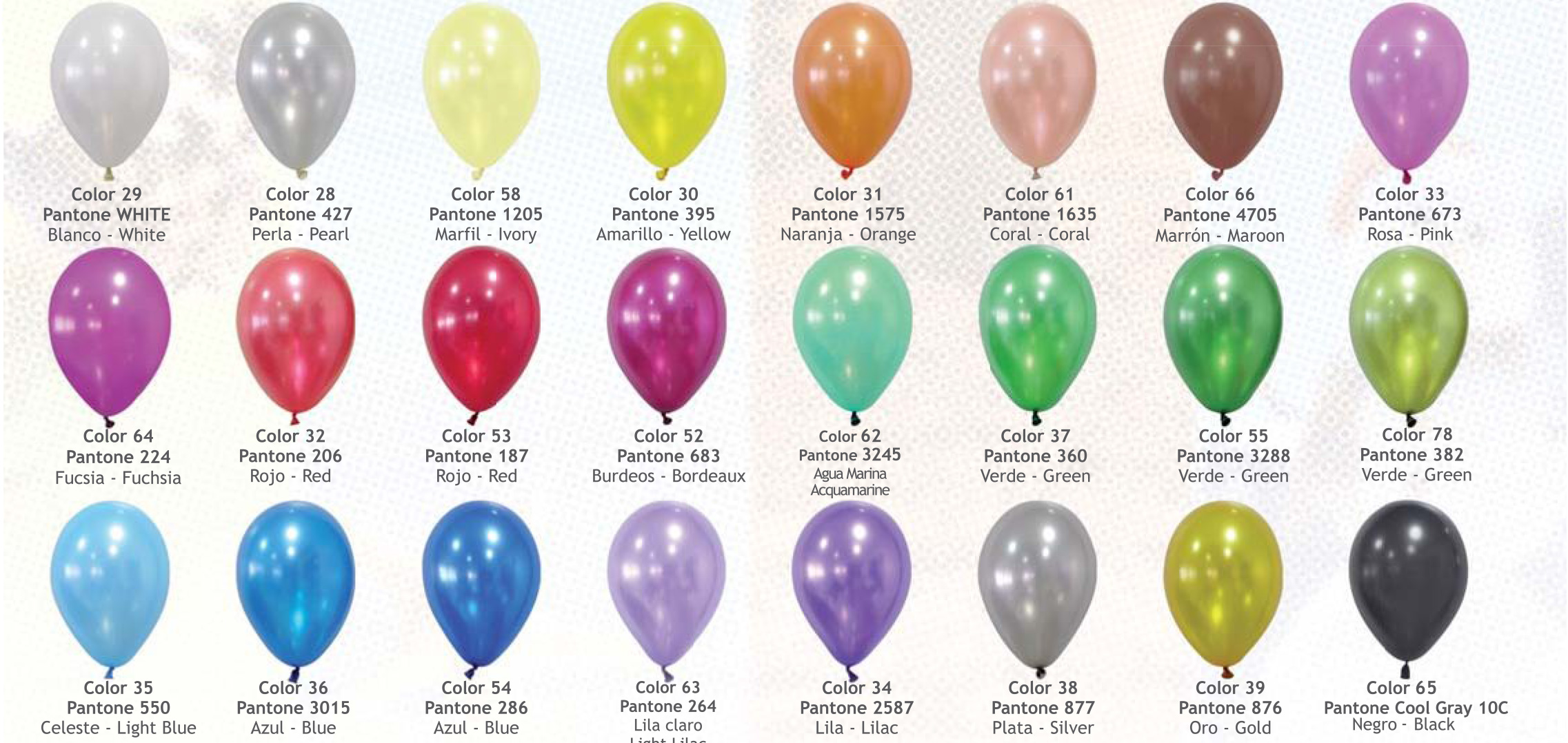 Gama de colores de globos